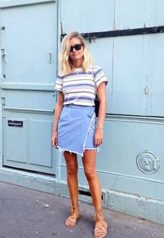 Looove...denim skirt ASOS, style @adenorah