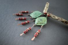 Tribal earrings • Bohemian Rustic • oxidized verdigris • red glass • hand forged copper • gipsy chandelier earrings • ethnic chic by entre2et7 on Etsy