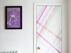 washi tape home decor - striped accent door, HGTV