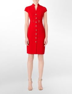Calvin Klein - clean, gorgeous lines Casual Dresses, Casual Outfits, Dresses For Work, Fashion Outfits, I Dress, Sheath Dress, Pretty Outfits, Pretty Clothes, Little Red Dress