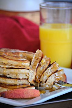 Cinnamon Peach Pancakes - would like to make this anytime in August, probably after peach fest!!