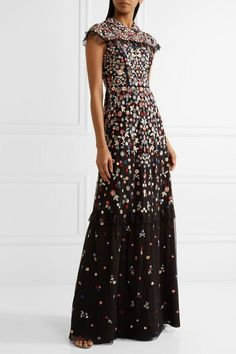 ef4df020f1839 Needle & Thread - Posy Ruffle-trimmed Embroidered Tulle Gown - Black  Tüllkleid, Schiere
