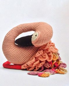 Such pretty Amigurumi Flamingo -- from a book with several other awesome animal amigurumis