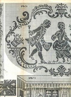 Gallery.ru / Фото #13 - Дамы и кавалеры (схемы) - Olgakam Counted Cross Stitch Patterns, Cross Stitch Embroidery, Stitch Doll, Filet Crochet Charts, Small Cross Stitch, Crochet Curtains, Chicken Scratch, Monochrom, Crochet Home