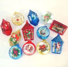 12 Assorted Jewel Brite Plastic 3D Scene Cutout Christmas Ornaments $38.00. I had these but gave them to my daughter. Dumb me!!  Mary T.