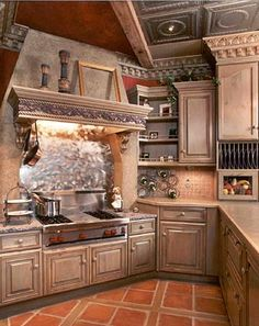 Metalic Backsplash And Gas Cooktop Old World Kitchen Design Interior Design Ideas Style Homes Rooms Furniture Architecture