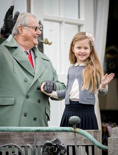 Prince Henrik and granddaughter Princess Josephine of Denmark attend the 77th birthday celebrations of Danish Queen Margrethe at Marselisborg Palace on April 16, 2017 in Aarhus, Denmark.