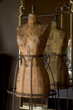 Pair of 18th Century Iron Frame Wood Dress Forms/ Mannequin