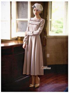 Free Shipping new 2014 Winter Women Long Sleeve Ruffles Brand High Quality Mid-calf Wool Dress Vestidos Saia