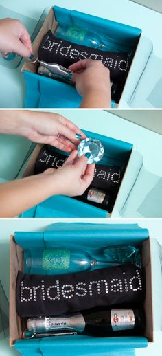 Bridesmaid Gift Box...I like this idea for part of their gift!