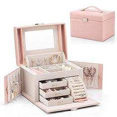 Girls Jewelry Box, Pink Jewelry, Leather Jewelry Box, Wooden Jewelry, Modern Jewelry Box, 13 Year Old Christmas Gifts, Retirement Gifts For Women, Jewellery Storage, Jewellery Box