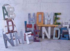 A B C … Lettere d'arredo in legno di recupero, assemblate e dipinte a mano.