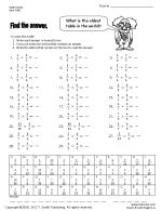 sixth grade math worksheet practice