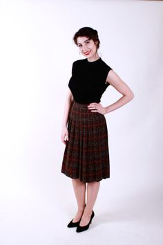 Vintage 1950s Skirt Brown Blue and Red Plaid 50s by stutterinmama, $48.00