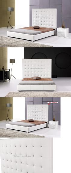 Beds and Bed Frames 175758: #4006 Gorgeous Modern Cal Eastern King Size White Pu Leather Bed -> BUY IT NOW ONLY: $389 on eBay!