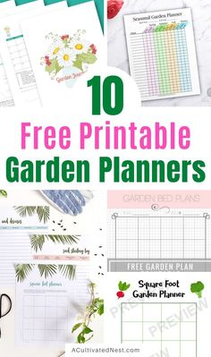 10 Free Printable Garden Planners- If you want to grow your best garden ever, then you need these free printable garden planners! They're helpful for both vegetable and flower gardens!