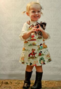 Vintage Cowboys and Indians Pillowcase dress by CharlottesLaundry, $28.00