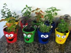 Sesame Street party favors (flower pot with plant or herbs).  Made favors for the adults for my daughter's 2nd birthday using colored pots from the dollar section at Target and painted character faces (and I'm not artist)!