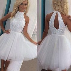 High neck with Beaded Bodice A-line White Tulle Homecoming Dresses,Hot 92