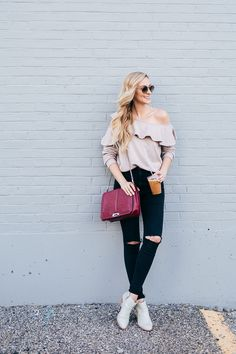 Blush Ruffle Off the Shoulder Sweater+black distressed jeans+white ankle boots+burgundy chain shoulder bag+sunglasses. Pre-Fall Casual / Everyday Outfit 2017