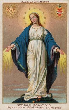 A vintage Italian holy card of Our Lady of the Miraculous Medal.