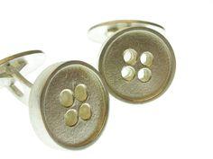 Zilveren manchetknoop knoop, ideaal cadeau voor vader, vriend of geliefde.