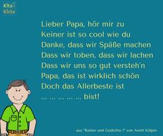 """Lieber Papa..."" - Vatertag Gedicht - aus ""Reime 1"" der Kita-Kiste - www.kitakiste.jimdo.com"