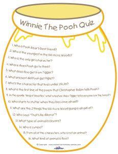 Printable Winnie the Pooh Quiz