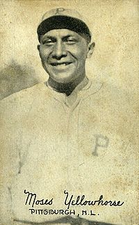 Chief Yellow Horse.jpg Pawnee Indian chief, from Pawnee, Oklahoma, b. 1898, d. 1964. He played major league baseball for the Pittsburgh Pirates from 1921 - 1922.