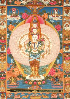 thousand armed Avalokiteshvara holds the wish-fulfilling jewel to his heart. Each of the hands, there to respond to the needs of all sentient beings, has a beautiful eye in its palm, looking down with great compassion. ~ tn28.jpg (521×738)