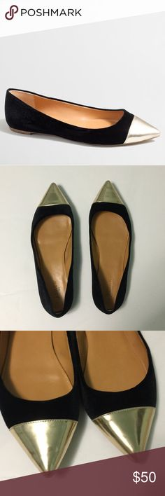 J. Crew • Velvet metallic cap toe flats J. Crew Factory black velvet gold metallic cap toe Amelia flats. Size 10. No visible wear on upper... only wear is on bottoms. Velvet upper, rubber sole. J. Crew Shoes Flats & Loafers