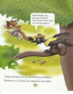 Teacher Fun Files: Maikling Kwento: Si Uwak at si Asong Gubat Kids Stories, Short Stories For Kids, Kids Story Books, Visual Aids, Borders For Paper, Tagalog, Myla, Picture Cards, Kindergarten Teachers