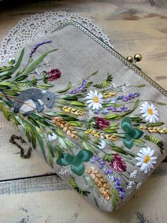 Bags with embroidery, hand embroidery by LadyEmStyle Embroidery On Clothes, Embroidery Bags, Creative Embroidery, Silk Ribbon Embroidery, Hand Embroidery Patterns, Cross Stitch Embroidery, Brazilian Embroidery, Sewing Crafts, Linen Bag