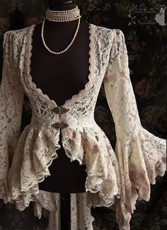 Cardigan Victorian Art Nouveau cottage chic by SomniaRomantica