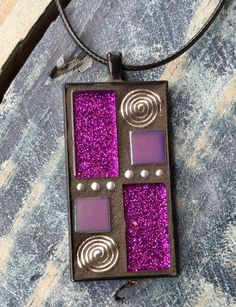Purple Mosaic Pendant by MosaicsandGemstones on Etsy https://www.etsy.com/nz/listing/568106279/purple-mosaic-pendant
