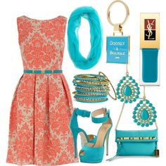 High Coral + Turq, created by jemevangelista on Polyvore