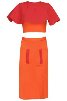 Orange and red color blocked cape top with high slit skirt available only at Pernia's Pop Up Shop.