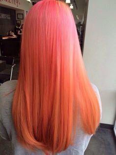 Inspiring Pastel Hair Color Ideas – My hair and beauty Peach Hair Colors, Coral Hair, Girl Hair Colors, Hair Dye Colors, Cool Hair Color, Brown Hair Colors, Pink Peach Hair, Hair Colour, Pastel Orange Hair