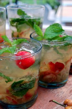 Sour cherry mojitos. To make in bulk, use 1 can frozen limeade, 1 can white rum, and 1 liter club soda. Add fresh mint & a few handfuls of fresh (or frozen) pitted sour cherries.