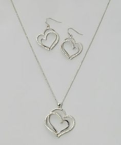 Another great find on #zulily! Silver Sparkle Double-Heart Pendant Necklace & Drop Earrings #zulilyfinds