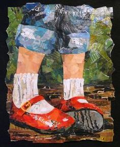 """Eileen Downes the collage artist who """"paints"""" with bits of torn paper for a palette Love these red shoes. Paper Collage Art, Collage Artists, Color Collage, Collage Ideas, Round Robin, Torn Paper, Tissue Paper, Shoe Art, Mixed Media Collage"""