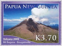 Mount Bagana mountain stamp Papua New Guinea 2009 Papua New Guinea, Stamp Collecting, Science And Nature, Geology, Postage Stamps, News, Pictures, Volcanoes, Ephemera