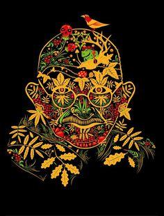 Gandhi psychedelic khokhloma
