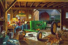 Charles Freitag. Legacy of John Deere - man, john deere, charles freitag, people, machine, farm, art, painting, dog