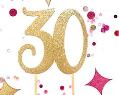 30th Cake Topper, Cake Topper, Gold Cake Topper, 30th Birthday Cake Topper, Cake Decorations