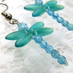 Dragonfly Earrings, Handmade Jewelry, Blue, Green, Teal, AB, Dragonflies, Beaded Earrings, Summer Jewelry, Dragon Fly, Light Blue on Etsy