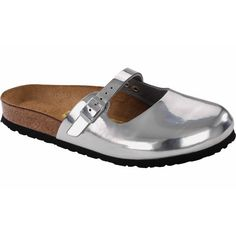 Birkenstock, Clogs, Steel, Sandals, Silver, Stuff To Buy, Fashion, Slide Sandals, Moda
