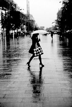 Rainy street, B, by Maka1967. There's just something about umbrellas on a rainy day.