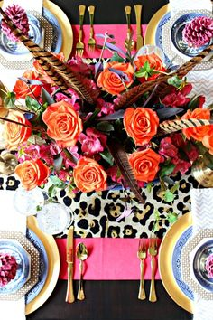 Bright + wild tablescape by Dimples and Tangles