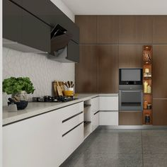 Good Black And White Modular Kitchen With A Wooden Accent Wall For Built In  Appliances. The